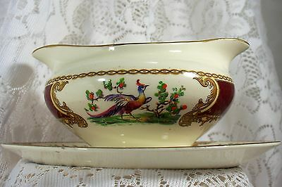 Myott Staffordshire Chelsea bird Gravy Boat with attached underplate