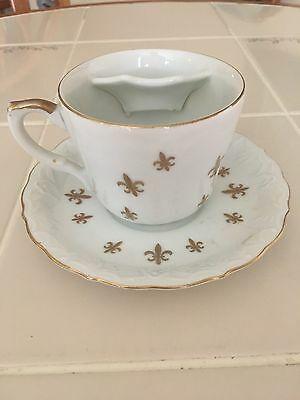 Antique Mustache Cup and Matching Saucer