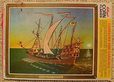 Kellogg's Corn Flakes Cereal Box Panel Carracks And Caravels Ship Picture Toy