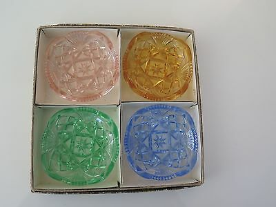 Vintage Set Of 4 Different Colored Crystal Dishes In Box