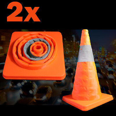 2x Collapsible Reflective Traffic Cones Road Folding Safety Signs Witches Hat