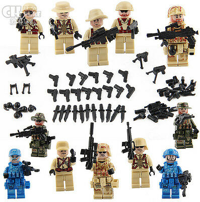12 pcs SWAT Eagle  Army Mini Figures with Arms Weapons Fit Lego Building Toys