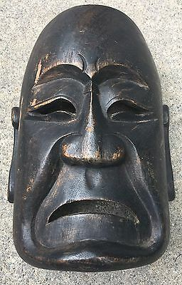 Vintage Antique Japanese Painted Wood Face Theater Mask