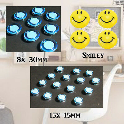 Home Office 15mm or 30mm Fridge Mini Magnets Extra Strong Hold Emoji Smiley Face