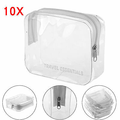 10 x HOLIDAY TRAVEL TOILETRIES BAGS - Clear Plastic Airline Airport Toiletry Bag