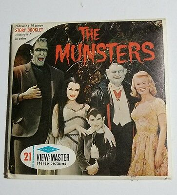 """RARE 1966 Sawyers View-Master  """"THE MUNSTERS"""" B481 3 Reel Set and Booklet EX"""