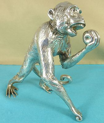 Superb Rare German Sterling Silver Statue Chased Monkey Apple Neresheimer C1890