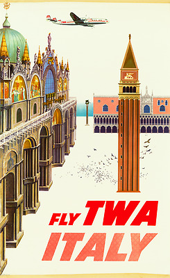 ORIGINAL Vintage Airlines Travel Poster TWA Venice ITALY Piazza San Marco KLEIN