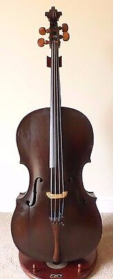 OFFER -  RARE  ANTIQUE c18th  CELLO VIOLONCELLO 7/8 SIZE   - OLD - CASE + BOW