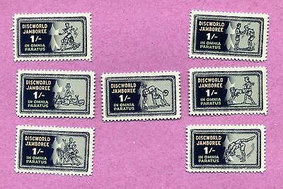 SCOUTS JAMBOREE - ALL SEVEN 'GAMES' COMMON STAMPS Discworld stamps Pratchett