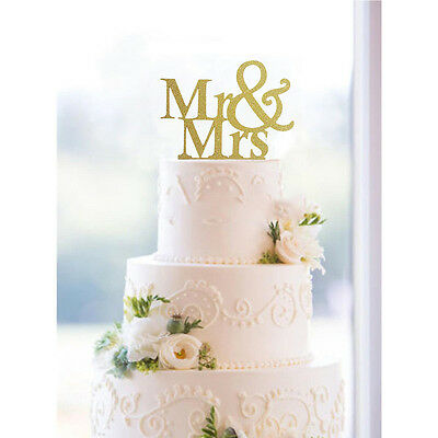 New Mr&Mrs Romantic Silver Shiny Cake Topper Wedding Party Top Letter Decor