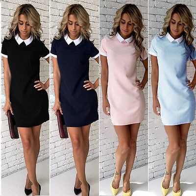 US Women Summer Casual Short Sleeve Evening Party Cocktail Short Mini Dress