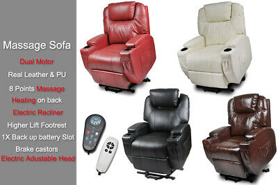 Reclining Electric Lift Heating Massage Disable Chair Sofa Senior Elder 2 Motor