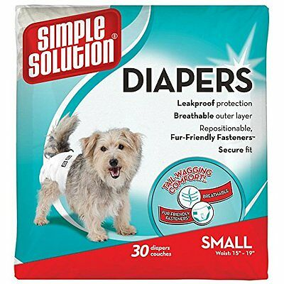 Simple Solution Comfortable Disposable FeMale Dog Diapers 30  Count Small Size