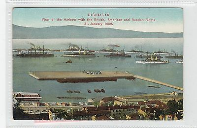 BRITISH, AMERICAN AND RUSSIAN FLEETS: Gibraltar postcard (C28286)