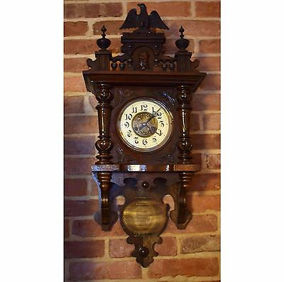 Vintage Antique German Gustav Becker 1910's Free Swinger Pendulum Wall Clock