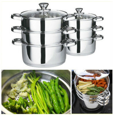 Vegetable Steamer Food Stainless Steel Kitchen 3 Mesh Steam Cooking Pot Cooker
