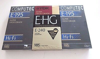 3 Blank VHS Tapes - 1 TDK E240, 2 Computec E195, SEALED BRAND NEW