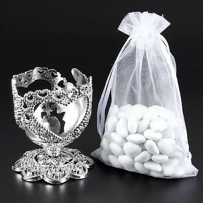 Set of 10 Sweet Candy Gift Boxes Metallic Cup Organza Bags Wedding Party Favour