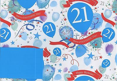 Male Blue 21St Today 2 Sheets Of Gift Wrap Wrapping Paper + 2 Blue Tags 1Stp&p