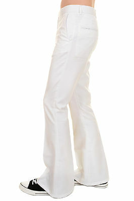 Mens 60s 70s Vintage Retro Presley White Cotton Twill Bell Bottom Trousers