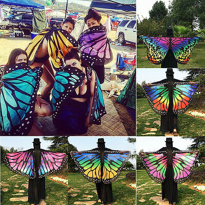 US Colorful Soft Fabric Butterfly Wings Fairy Lady Nymph Pixie Costume Accessory