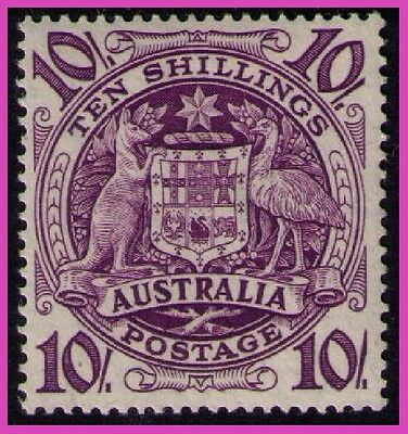 AUSTRALIA ~ 1948 • KGVI 10/- Arms «Mounted MINT» sg#224b