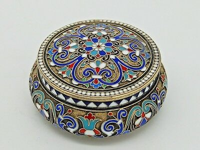 Antique Russian Silver & Enamel snuff box Moscow 1887 IVAN FEDOROV ANDREEV