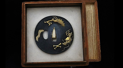 19th C Authentic Japanese kinko Tsuba shakudo dragon Signed 'Chiku''