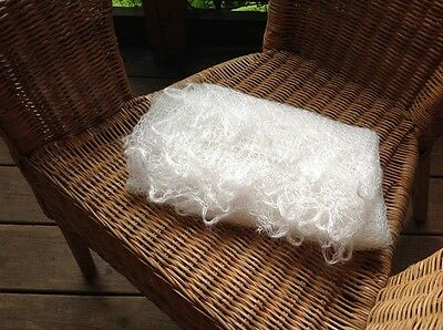 RUSSIAN TRADITIONAL WINTER WOMEN ETHNIC HAND MADE DOWNY SHAWL NET120x120CM WHITE