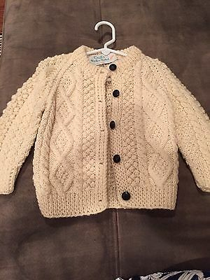 Baby/Child's Button Down Irish Cable Knit Sweater Fits Up To 3T