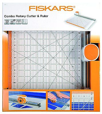 "FISKARS Combo Rotary Cutter & Ruler 12"" x 12""  IN VERY GOOD CONDITION  9515 R"