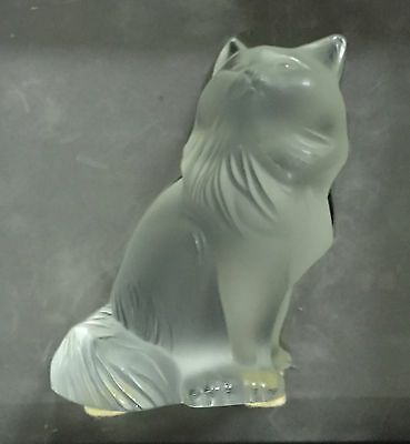 Chat Heggie Sculpture cristal Lalique incolore