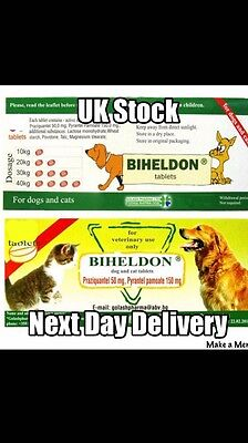 30 Bieldon Dog Worming Tablets - UK Seller Next Day Delivery - UK Instructions
