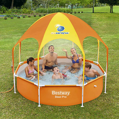 Inflatable Swimming Pool w/ Tent Family Fun Garden Summer Sunshade Kids Splash