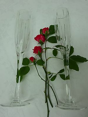 """Large 12"""" Mappin & Web Champagne Glasses Heavy Cut Crystal Glass Wedding Gift"""