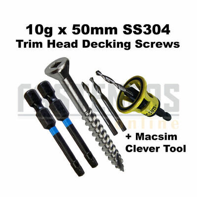 1000pcs-10g x 50mm Stainless 304 Trim Head Decking Screws + Macsim Clever Tool M
