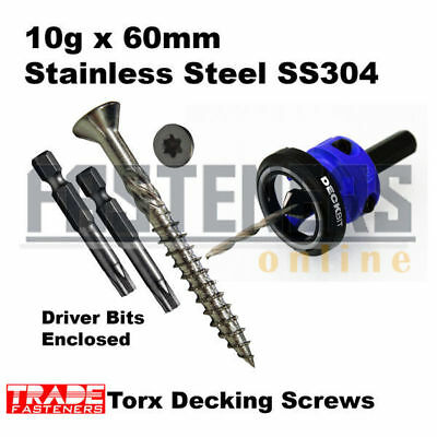 1000pcs - 10g x 60mm Stainless Steel 304 Torx Decking Screws + Countersink Tool
