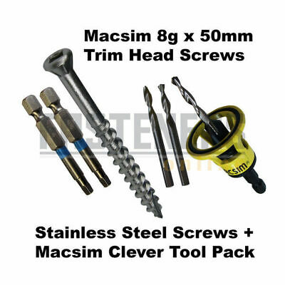 1000pcs - 8g x 50mm Stainless Trim Head Decking Screws + Macsim Clever Tool Macs