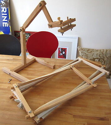 Lot of Tapestry Frames:Standing Frame & Clamp + 3 Wood Rotating Frames embroider