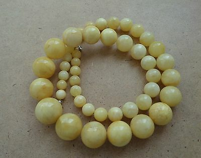 Genuine Baltic Amber modified Old necklace beads Rare Round natural white 146 g.