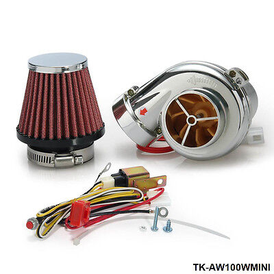 Turbo Mini Electric Turbo Supercharger Kit Air Filter Intake for car Motorcycle