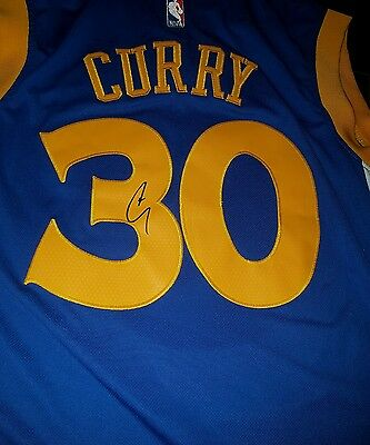 2017 NBA CHAMP!! Stephen Curry Signed Golden State Warriors Jersey - COA PROOF