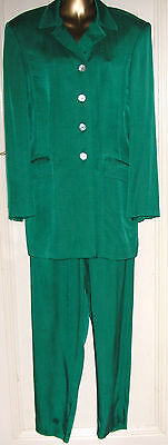 Rare 1980's Emerald Green Trouser Suit By Planet size 14 UK 10-12
