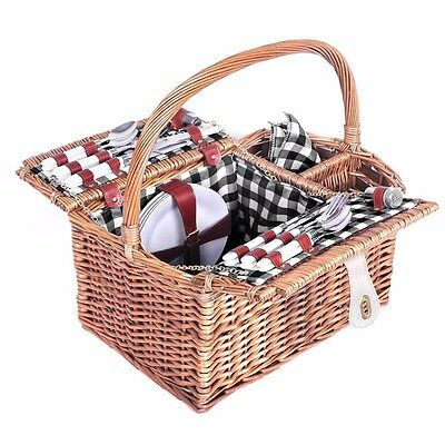 NEW Deluxe 4 Person Picnic Basket Hamper Set Wine Compartment Gift Blanket