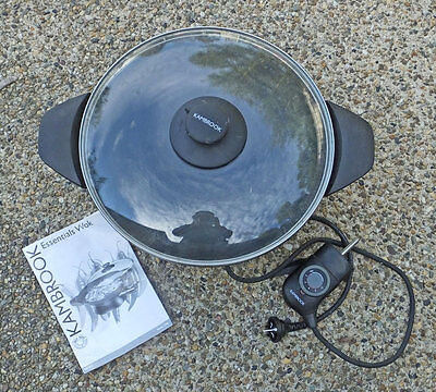 KAMBROOK ELECTRIC WOK with glass lid and User Book