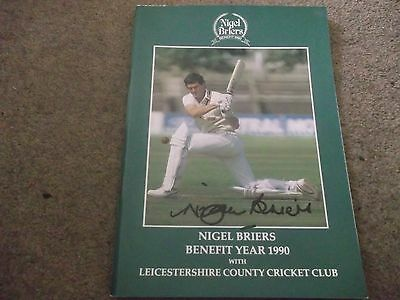 Signed Nigel Briers Testimonial Brochure Leicestershire County Cricket Club 1990
