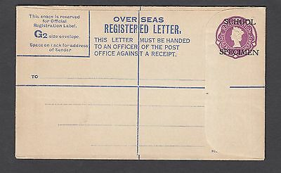 GB Post Stationery-6d Overseas Registered Letter 'SCHOOL SPECIMEN' Overprint(G2)