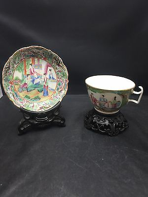 Antique Big ChineseCantonese Families Rose Sauce And Cup 19th Century No.2