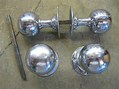 2 Pairs of original Reclaimed Chrome Large Round Ball Door Knobs 0189